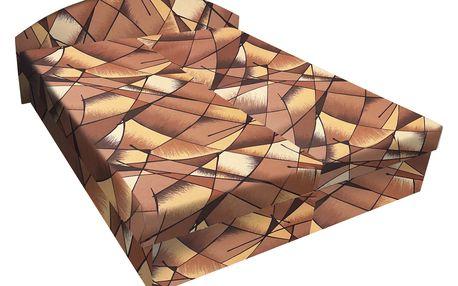 Čalouněná postel ÁJJA 180x200 cm, hnědožlutá látka DOPRODEJ