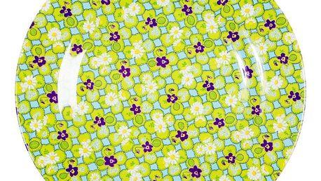 rice Melaminový talíř zeleno-fialový, zelená barva, melamin
