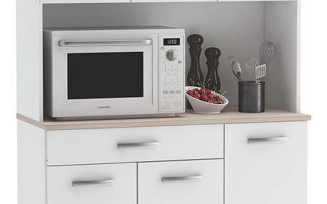 BOMY, kuchyňská skříňka, bílá/akát