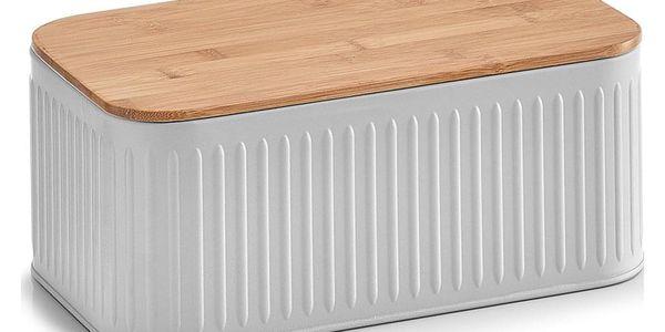 Kovový kontejner na chleba, 2v1 bambusové prkénko - šedá barva, ZELLER2