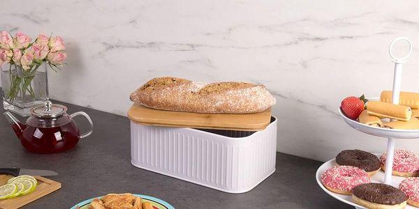 Kovový kontejner na chleba, 2v1 bambusové prkénko - šedá barva, ZELLER