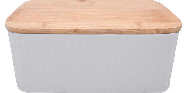 Kovový kontejner na chleba, 2v1 bambusové prkénko - šedá barva, ZELLER4