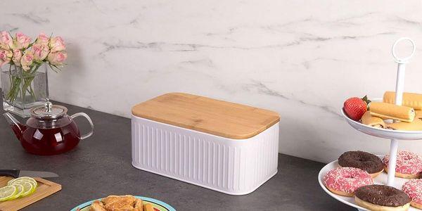 Kovový kontejner na chleba, 2v1 bambusové prkénko - šedá barva, ZELLER5
