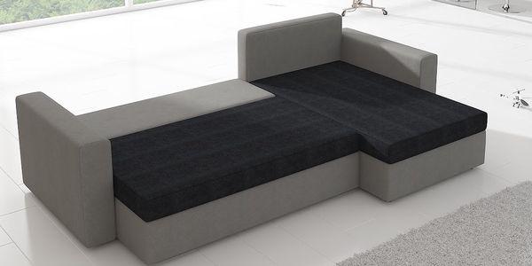 Rohová sedačka CALEDON 9, šedá látka/černá látka2