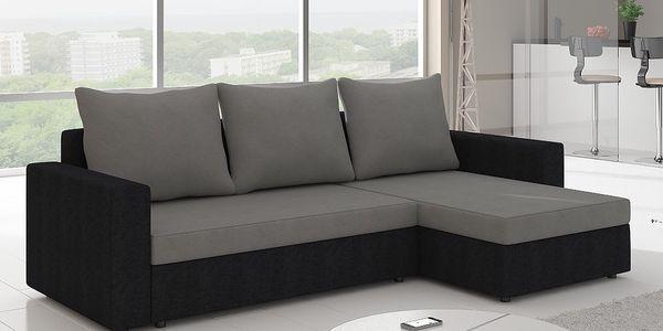 Rohová sedačka CALEDON 9, šedá látka/černá látka