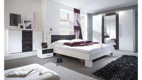 WILDER ložnice s postelí 180x200 cm, bílá/ořech černý
