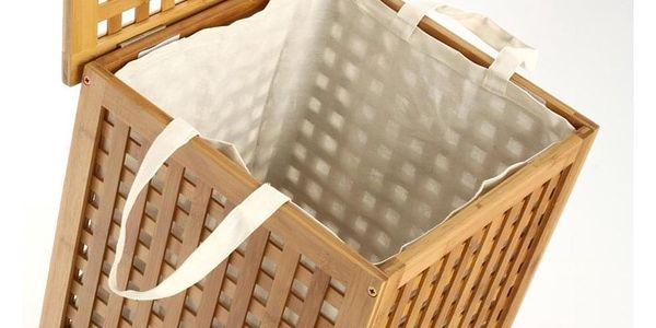 Koš na prádlo, bambusový koš, koš na oděvy, kontejner, obdélníkový koš, světle hnědá barva, BAMBOU3