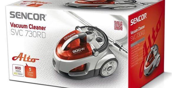 Sencor SVC 730RD-EUE2 bezsáčkový vysavač, červená2