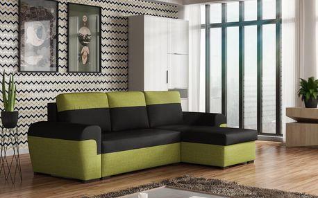 Rohová sedačka FILO, černá látka/zelená látka DOPRODEJ