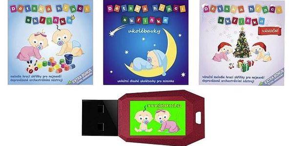 Dětská hrací skříňka: CD nebo 4GB flash disk s hudbou pro kojence a malé děti4