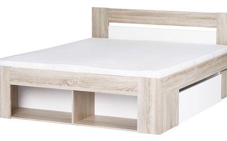 LANAI, postel 160x200 cm, dub sonoma/bílá