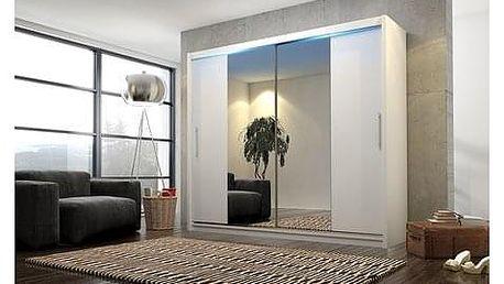 Kvalitní šatní skříň KOLA 4 bílá šířka 180 cm Včetně LED osvětlení