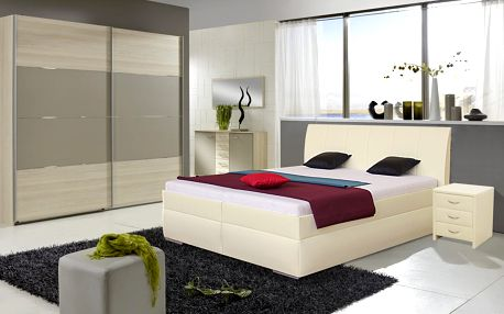Čalouněná postel LIANA 2 160x200 cm vč. roštu a ÚP Ekokůže bílá