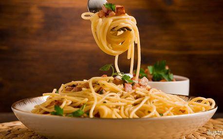 Spaghetti carbonara nebo bolognese pro 1 i 2 os.