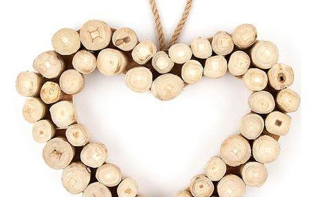 Závěsná dekorace Dřevěné srdce Ouvert