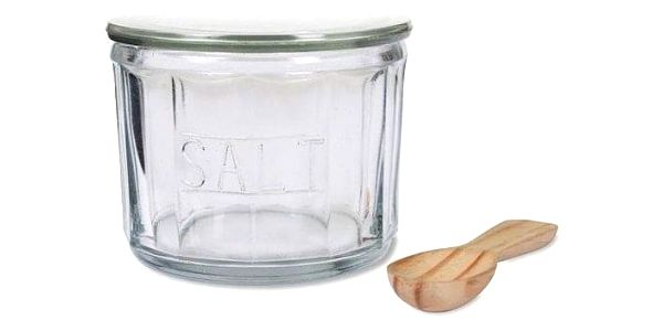 Garden Trading Skleněná dóza na sůl se lžičkou Salt Pot, hnědá barva, čirá barva, sklo, dřevo2
