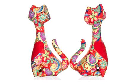 GodoDo Dekorativní polštáře sošky dvě kočky patchwork LP0004-03