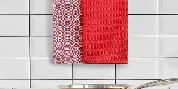 DecoKing Kuchyňská utěrka Louie červená, 50 x 70 cm, sada 3 ks2