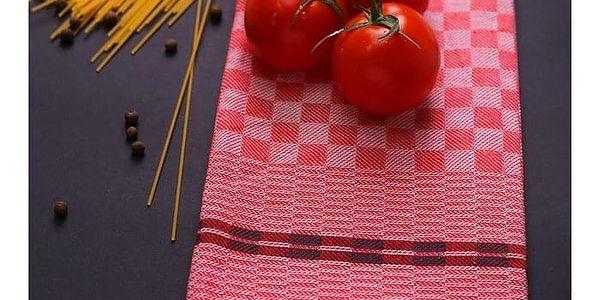 DecoKing Kuchyňská utěrka Louie červená, 50 x 70 cm, sada 3 ks5