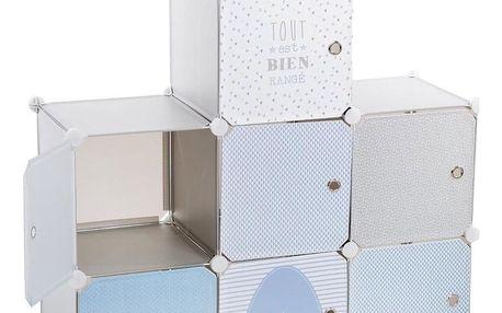 Emako Skříň se zásuvkami, regál, knihovna, police na drobnosti, 94,5 x 32 x 109 cm, modrá barva