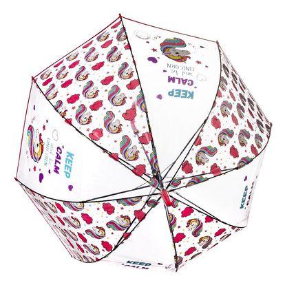Deštník jednorožec průhledný - Keep calmand be unicorn RST713A