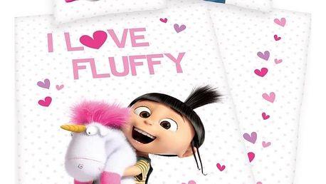 Herding Dětské bavlněné povlečení Mimoni Agnes - I love Fluffy, 135 x 200 cm, 80 x 80 cm