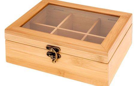 EH Excellent Houseware Bambusová box na čaj - 6 přihrádek
