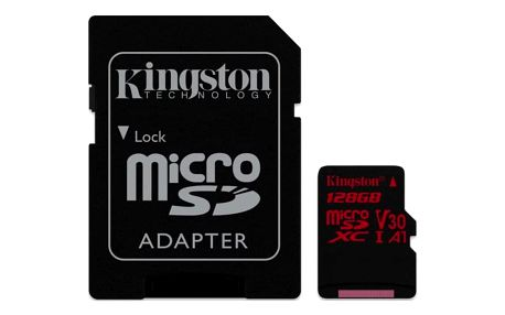 Paměťová karta Kingston Canvas React microSDXC 128GB UHS-I U3 (100R/80W) + adaptér (SDCR/128GB)