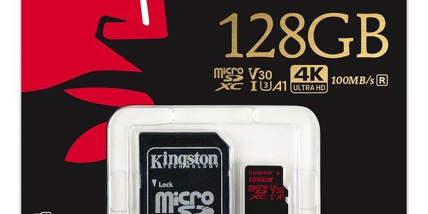 Paměťová karta Kingston microSDXC 128GB UHS-I U3 (100R/80W) + adaptér (SDCR/128GB)2