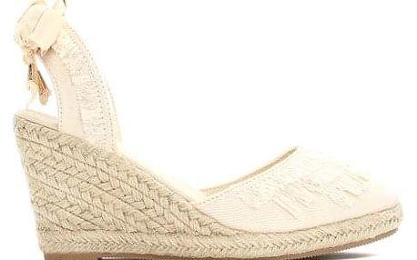Dámské béžové sandály na klínku Deanna 2071
