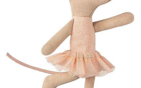 Maileg Myška balerína - Little sister, růžová barva, béžová barva, textil