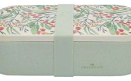 GREEN GATE Bambusový svačinový box Megan White, zelená barva, melamin