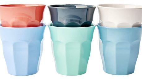 rice Melaminové kalíšky Happy - set 6ks, červená barva, modrá barva, zelená barva, bílá barva, melamin