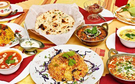 Vegetariánské indické menu s několika chody