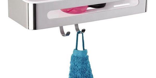 Koupelnová polička PREMIUM PLUS do sprchového koutu, 2 háčky, WENKO3