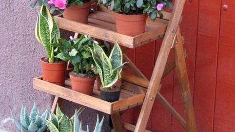 Tradgard 2694 Dřevěný poličkový schůdkový květináč hnědý