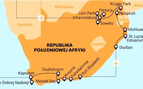 Jihoafrická republika letecky z Polska na 15 dnů, polopenze