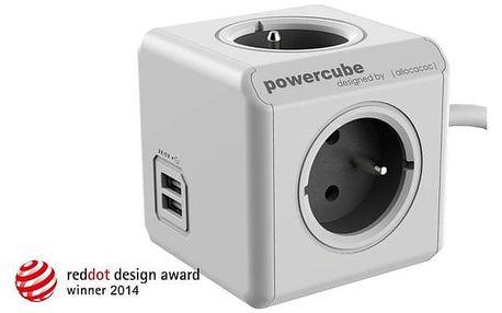 Kabel prodlužovací Powercube Extended USB, 4x zásuvka, 2x USB, 1,5m šedý/bílý