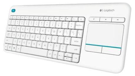 Klávesnice Logitech Wireless Keyboard K400 Plus, US bílá (920-007146)