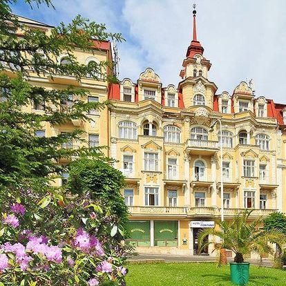 Mariánské Lázně v 3* hotelu blízko kolonády s polopenzí a bohatým balíčkem až 36 procedur