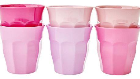 rice Melaminové kalíšky Pink - set 6ks, růžová barva, melamin