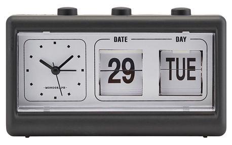 MONOGRAPH Retro hodiny s budíkem a kalendářem Black, černá barva, plast