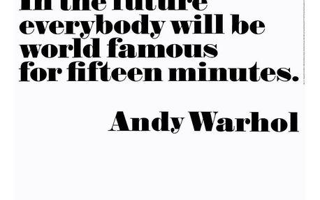 Andy Warhol Plakát Andy Warhol - 15 minutes of fame, černá barva, bílá barva, papír