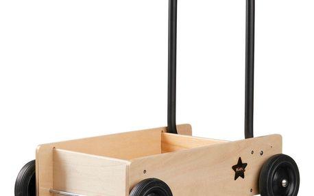 Kids Concept Dětské chodítko Baby walker NEO, černá barva, přírodní barva, dřevo, kov