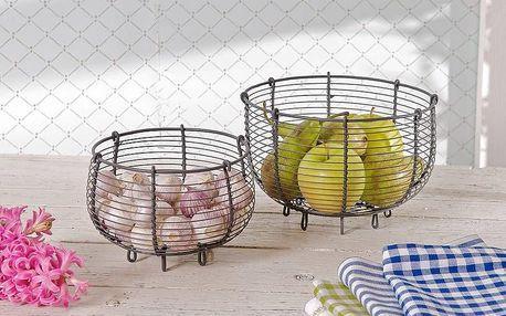 Krasilnikoff Košík na ovoce - natur Větší, šedá barva, kov