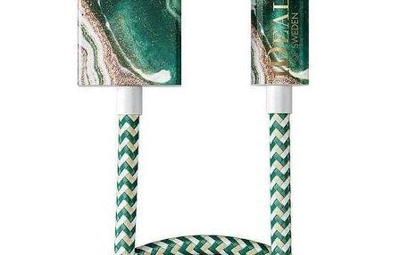 iDeal of Sweden Textilní USB kabel na iPhone Golden Jade Marble 1m, zelená barva, plast, textil