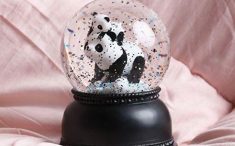 A Little Lovely Company Svítící sněžítko - Panda Family, černá barva, bílá barva, plast