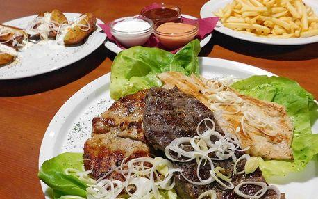 Vepřový, kuřecí a hovězí steak z grilu pro dva