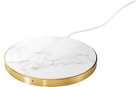 iDeal of Sweden Módní bezdrátová nabíječka White Marble, šedá barva, zlatá barva, kov, plast