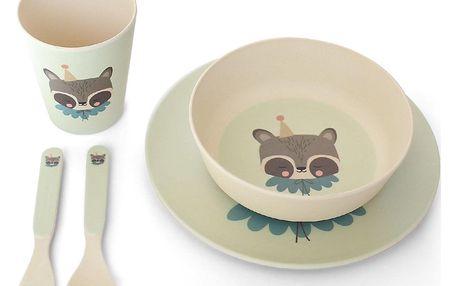 EEF lillemor Bambusové nádobí pro děti Circus Raccoon - set 5 ks, zelená barva, béžová barva